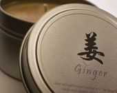 Soy Candle - 4 oz Ginger candle tin with lid
