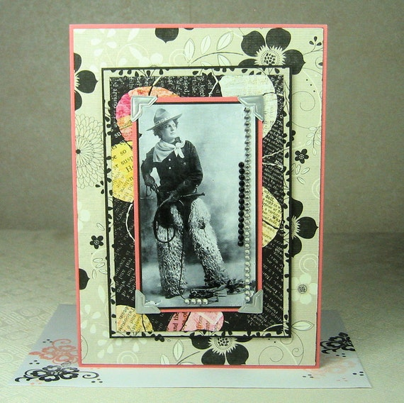 Vintage Rhinestone Cowgirl With Whip and Guns Artistic Card
