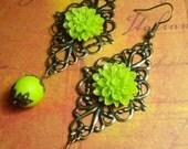Lime Green Dahlia Earrings