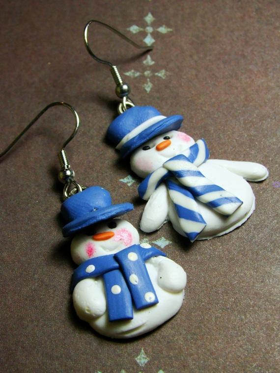 50% OFF - Snowman Earrings - Blue