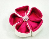 Pink and White Flower Hair Clip Large Hula Girl Kanzashi Hibiscus Silk Hair Corsage Pin