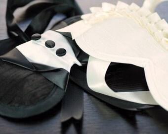 Bride and Groom Heirloom Silk Boudoir Eye Masks Blindfolds
