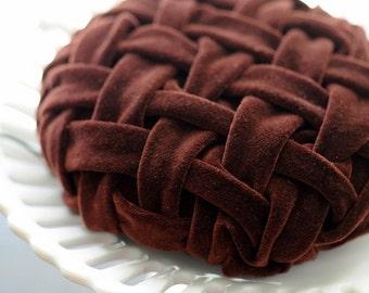 Chocolate Velvet Lattice Smocked Mini Hat Fascinator Very Vintage