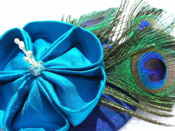 Peacock Cocktail Hat Silk Kanzashi Flower Feather Fascinator Flight of Fancy