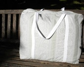 Light Green and White Duffel or Weekender Bag made from Upcycled Materials