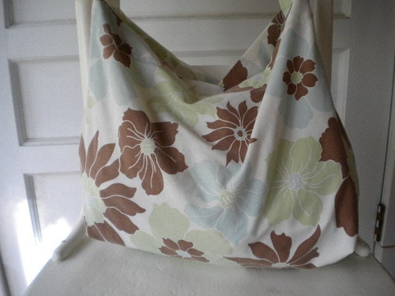 Brown, Light Blue and Light Green Flowers bag or Purse