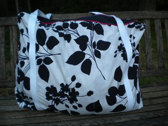 Black and White with a Touch of Bright Pink Duffel or Weekender Bag