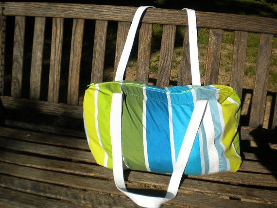 Green, Aqua and White Striped Gym or Duffel Bag