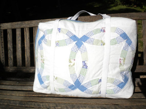 Blue and Green Double Ring Lightly Quilted Duffel or Weekend Bag