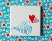 RESERVED Small screenprinted tile Lovebird