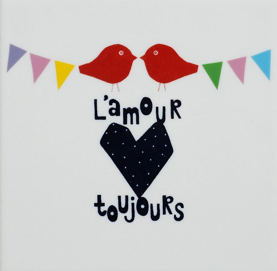 Screenprinted tile l'amour toujours