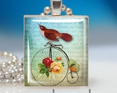 Scrabble Tile Pendant - BIKING Birdy and Butterfly with Roses