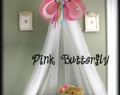 Butterfly Crib Nursery Canopy Bed Fairy PRINCESS Pink Hanging Mosquito Netting INCLUDED SALE