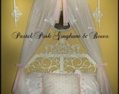 Crib Canopy Teester Valance SaLe Light Pastel Pink Gingham Princess Petite Bows WHITE SHEERS INCLUDED