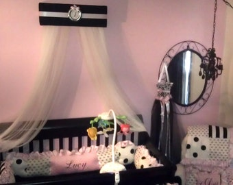Crown Bed Canopy Crib SaLe Princess Personalized Black Padded with Pink Silver Monogram Crown Tiara