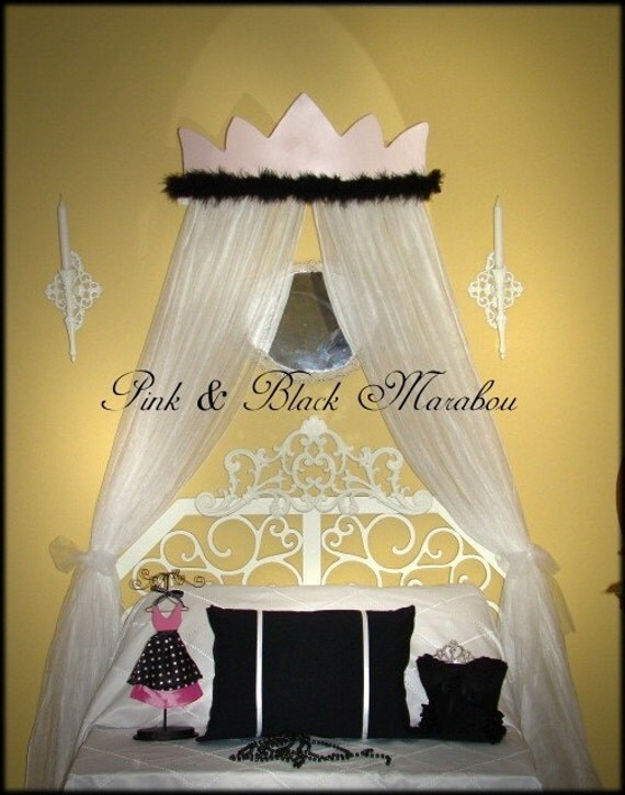Princess Bed Canopy Crown Pink Black Marabou Mosquito Netting