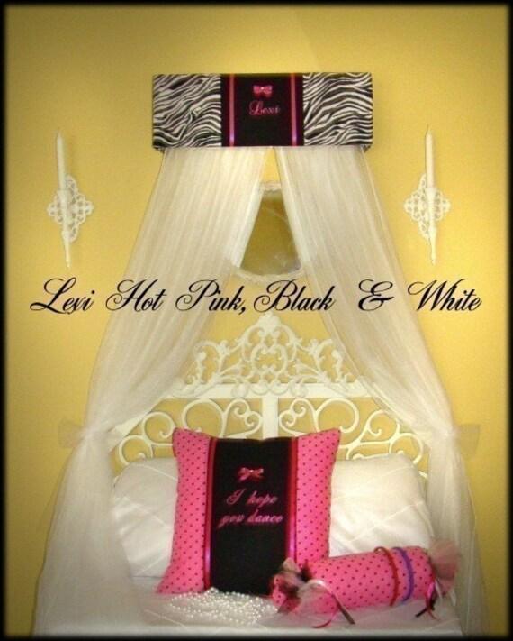 Zebra Room Decor: HOT Pink Zebra Print Rock Star Diva Bling Bedroom Decor Canopy