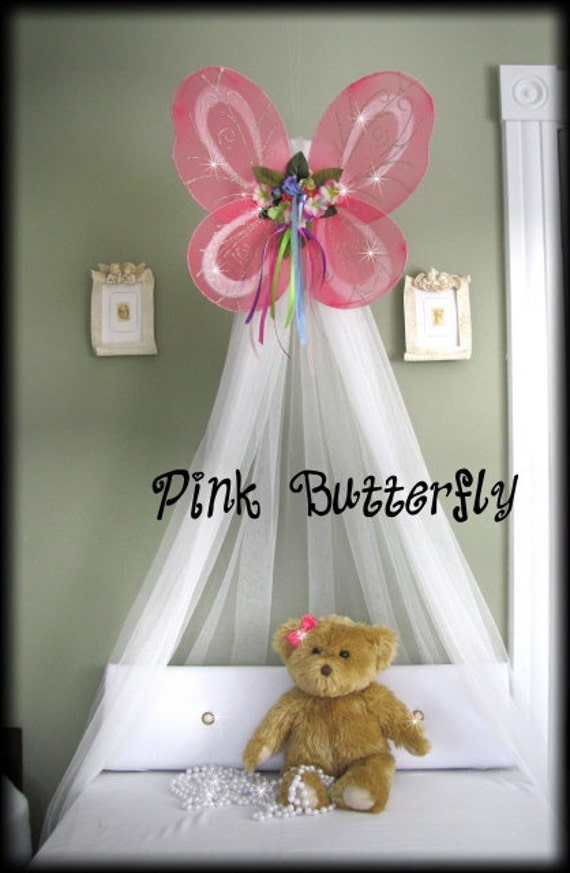 Butterfly Crib Nursery Canopy Bed Fairy PRINCESS PINK Hanging Mosquito Netting SALE
