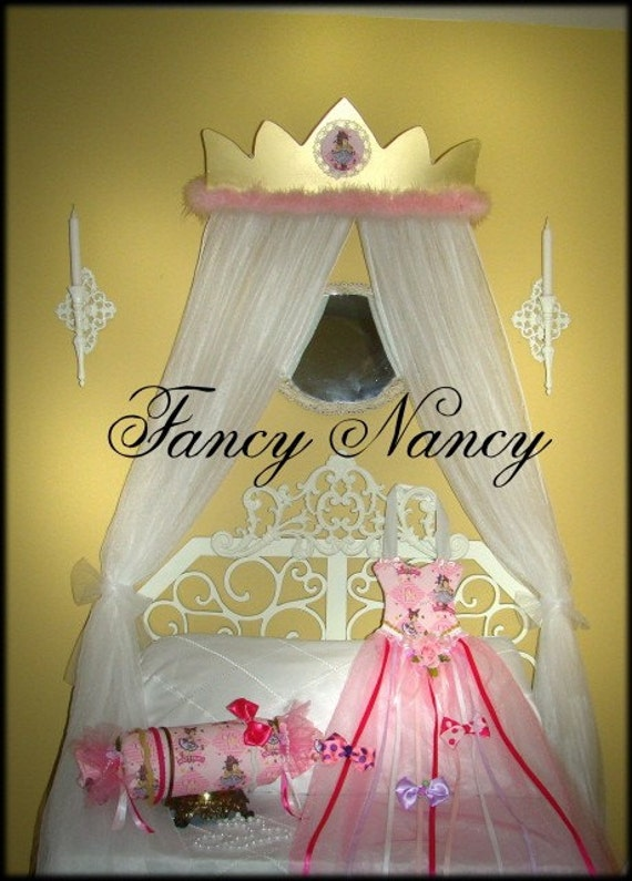 FANCY NANCY Custom Princess CROWN canopy for girls bed with netting