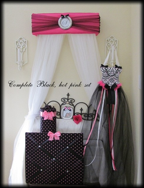 Bedroom 6 pc set bed canopy hair bow headband by for Bedroom kandi swag bag