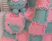 Crochet Pattern Baby Blanket - Turtle - Bib - Digital Download