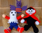 Crochet Pattern Halloween Vampire Bat and Ghost Toys - Digital Download