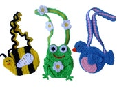 Crochet Pattern Bumblebee - Frog - Bluebird Purses, Digital Download