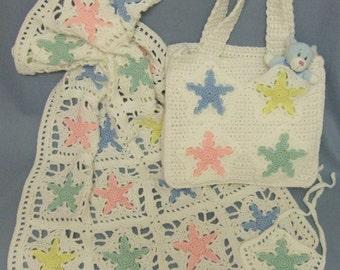 CROCHET PATTERN - CV002 Star Baby Blanket and Diaper Bag - PDF Download