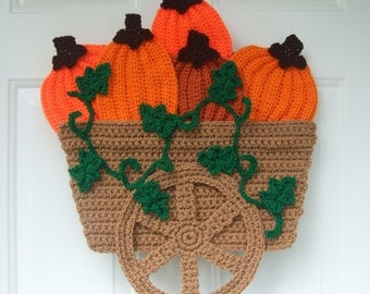 Crochet Pattern Pumpkin Wagon Door Hanging, Digital Download