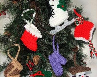 Crochet Pattern Christmas Ornaments - Digital Download