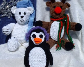 Crochet Pattern Christmas - Polar Bear - Reindeer - Penguin Toys - Amigurumi - Digital Download