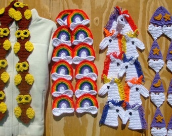 CROCHET PATTERN - CV064 Magical Scarves - Wizardry Scarves - Owl - Unicorn - Rainbow - Wizard - PDF Download