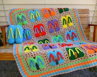 Crochet Pattern Flip Flop Afghan and Pillow, Instant Digital Download