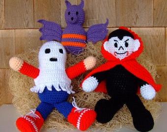 CROCHET PATTERN - CV082 Halloween Goblins - Vampire - Bat - Ghost Toys - Amigurami - PDF Download