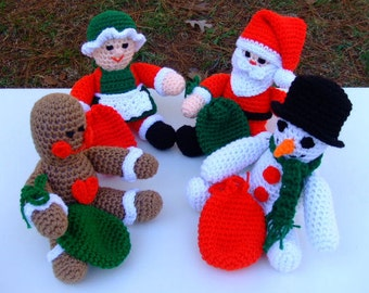 CROCHET PATTERN - CV084 Christmas Toys Set One - Santa - Mrs Santa - Gingerbread Man - Snowman - Amigurami - PDF Download