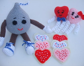 Crochet Pattern Valentines Day Chocolate Kiss, Sugar Cookies and Hugging Hearts - Digital Download