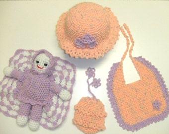 CROCHET PATTERN - CV008 Sweet Little Things - Baby Hat - Bib - Doll - Purse - PDF Download