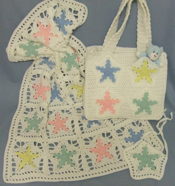 CROCHET PATTERN CV002 Star Baby Blanket and Diaper Bag PDF