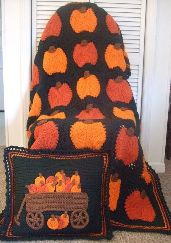 Crochet Pattern Pumpkins Galore Afghan and Pillow - PDF Instant Download