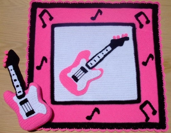 Crochet Village Little Rock Star Pink Guitar Afghan and Pillow New Crochet Pattern FREE SHIPPING