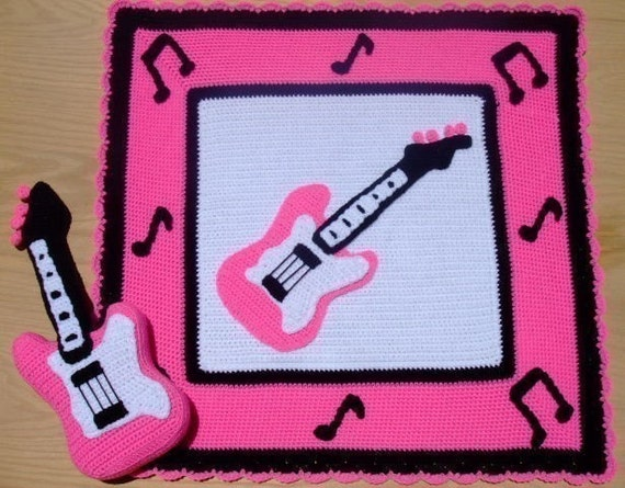 Crochet Village Little Rock Star Pink Guitar Afghan and Pillow