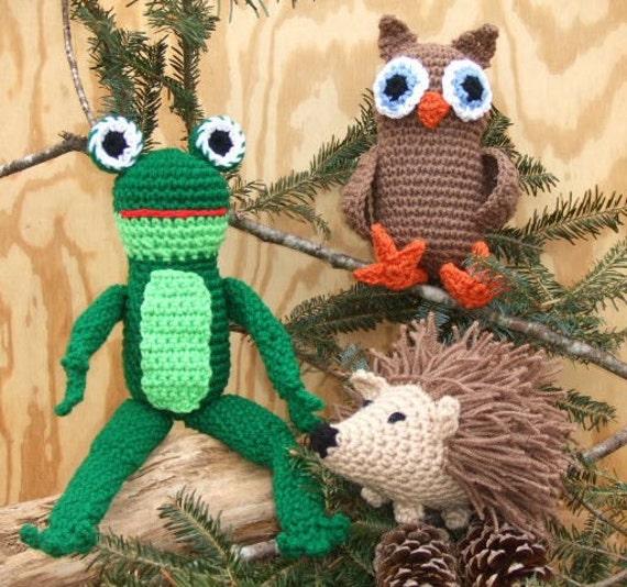 Crochet Pattern Owl, Hedgehog, Frog Toys, Digital Download