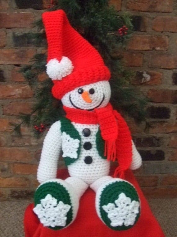 Free Crochet Cotton Christmas Patterns : Crochet Pattern Christmas Snowman PDF Instant Download
