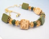 Foothills - chunky wood triangles, jade, and citrine necklace OOAK