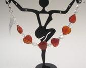 Queen of Hearts - Carnelian and Swarovski Bracelet