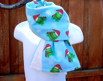 Silly Frog In Snowflakes Childrens Scarf