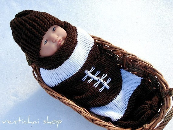 Reserved for ashleighsmmomma--My Football Infant Baby Knit Seed Pod Cocoon Plus Hat Great Halloween Costume