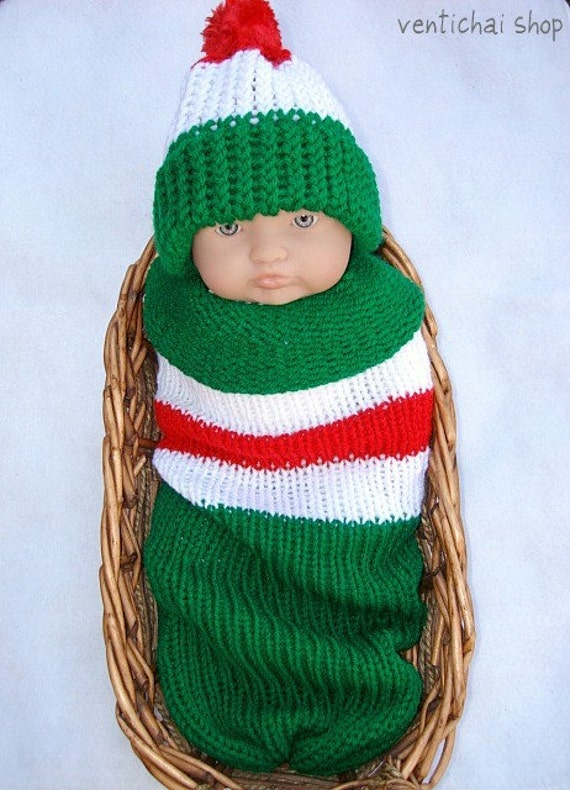 Elf Baby Knit Seed Pod Cocoon Plus Hat Great Winter Christmas Photo Prop