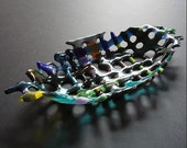 Glass basket - Fused multicolor recycled art glass.