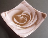 The rose plate - Fused glass and silkscreen